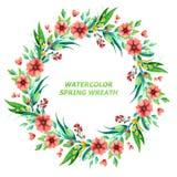 Guirnalda floral brillante de la acuarela imagen de archivo libre de regalías