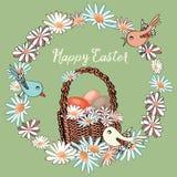 Guirnalda floral de Pascua con la cesta con los huevos en el centro con los pájaros coloridos alrededor Ejemplo del vector en fon Imágenes de archivo libres de regalías