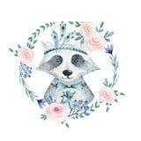 Guirnalda floral del boho de la acuarela con el mapache Bohemio del Watercolour ilustración del vector