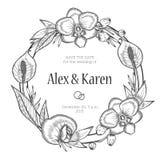 Guirnalda floral del vintage Invitación de la boda Fotografía de archivo