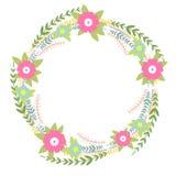 Guirnalda floral Ejemplo brillante del concepto de la primavera con las flores Flores coloridas exhaustas de la primavera de la m stock de ilustración