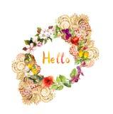 Guirnalda floral - hola, diseño adornado Flores del prado, mariposas watercolor Imagen de archivo libre de regalías