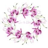 Guirnalda hermosa de la acuarela con las hojas y las flores del azafr stock de ilustración