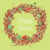Guirnalda hermosa de Pascua con los huevos Ejemplo del vector en fondo verde claro Pascua feliz en el medio de la guirnalda Imagenes de archivo