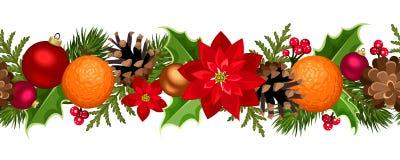 Guirnalda inconsútil de la Navidad con las bolas, el acebo, la poinsetia, los conos y las naranjas Ilustración del vector Fotos de archivo libres de regalías