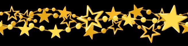 Guirnalda inconsútil horizontal con las estrellas de oro. stock de ilustración