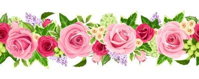 Guirnalda inconsútil horizontal con las rosas y las hojas de la hiedra Ilustración del vector Fotos de archivo