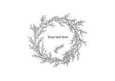Guirnalda manuscrita del garabato de ramas con las pequeñas hojas para su diseño personal Foto de archivo