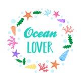 Guirnalda marina del amante del océano stock de ilustración