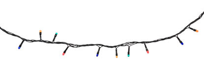 Guirnalda multicolora de la lámpara aislada en blanco Fotografía de archivo