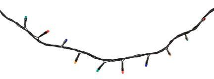 Guirnalda multicolora de la lámpara aislada en blanco Foto de archivo