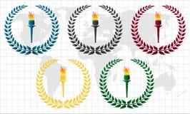 Guirnalda olímpica con la antorcha Imágenes de archivo libres de regalías