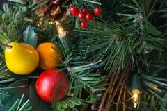 Guirnalda plástica de la Navidad en una puerta Fotografía de archivo libre de regalías