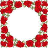 Guirnalda redonda con las hojas y las rosas rojas stock de ilustración