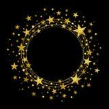 Guirnalda redonda de las estrellas del oro stock de ilustración
