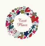 Guirnalda redonda del flourish decorativo Guirnalda adornada con los corazones, las flores y los copos de nieve Elemento del día  ilustración del vector