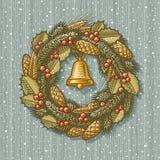 Guirnalda retra de la Navidad stock de ilustración