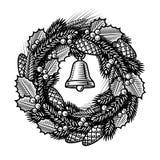 Guirnalda retra de la Navidad blanco y negro Fotografía de archivo libre de regalías