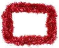 Guirnalda roja de la Navidad, marco rectangular Fotografía de archivo