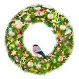 Guirnalda verde de la Navidad con las decoraciones EPS 10 Imágenes de archivo libres de regalías