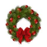 Guirnalda verde de la Navidad del vector con el arco y los ornamentos rojos stock de ilustración