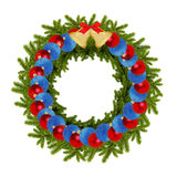 Guirnalda verde tradicional de la Navidad con las bolas y la ISO de las campanas del oro Fotografía de archivo libre de regalías