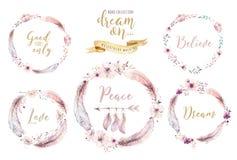 Guirnalda vibrante dibujada mano de la pluma de las pinturas de la acuarela Alas color de rosa del estilo de Boho Ilustración ais ilustración del vector