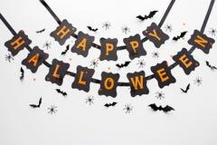 Guirnalda y decoración del negro del partido del feliz Halloween Fotos de archivo libres de regalías