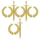 Guirnalda y espada Imagen de archivo libre de regalías