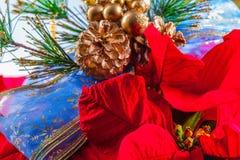 Guirnalda y poinsetia Foto de archivo libre de regalías