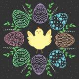 Guirnalda y polluelo de Pascua Huevos con diseño floral Fondo inconsútil del vector Imagen de archivo