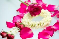 Guirnalda y rosas del jazmín Imagen de archivo