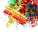 Guirnaldas, bobinador de cintas en modo continuo y confeti coloridos del partido Imágenes de archivo libres de regalías