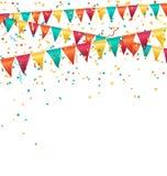Guirnaldas brillantes multicoloras de los empavesados con el confeti aislado encendido Imagen de archivo libre de regalías
