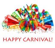 Guirnaldas coloridas, flámula, sombreros del partido, confeti Imagen de archivo libre de regalías