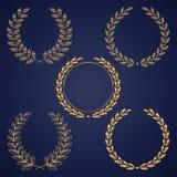 Guirnaldas de oro del laurel Fotos de archivo