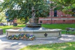 Guirnaldas en el monumento de guerra canadiense Imagenes de archivo