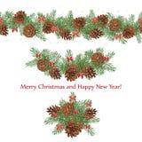 Guirnaldas festivas determinadas de los conos y de los arcos del pino adornados con las estrellas Foto de archivo