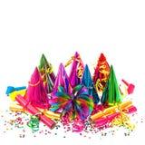 Guirnaldas, flámula y confeti de la decoración del partido del carnaval Foto de archivo libre de regalías