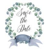 Guirnaldas florales de la acuarela con la cinta para su texto Bandera floral Invitación de la boda imágenes de archivo libres de regalías