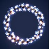Guirnaldas ligeras en fondo oscuro Luces de la Navidad Ilustración del vector Fotografía de archivo libre de regalías