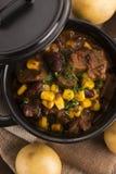 Guisado caliente tradicional del pote con la carne y las verduras imagenes de archivo