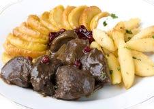 Guisado da carne com bolinhos de massa Foto de Stock
