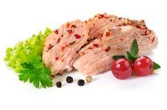 Guisado da carne de porco, no fundo branco Fotografia de Stock Royalty Free
