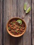 Guisado da lentilha Lentilha Bolonhês do vegetariano Faça dieta o alimento fotografia de stock