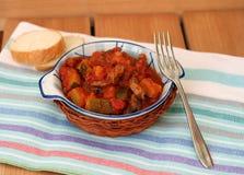 Guisado de carne com abobrinha e tomates fotografia de stock royalty free