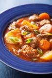 Guisado de carne com batata e cenoura na placa azul Fotografia de Stock Royalty Free