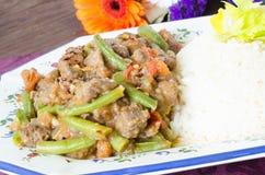 Guisado de carne com feijões verdes e arroz Fotografia de Stock Royalty Free