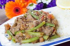 Guisado de carne com feijões verdes e arroz Imagem de Stock Royalty Free
