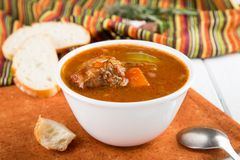 Guisado de carne com vegetais Sopa de goulash fotos de stock